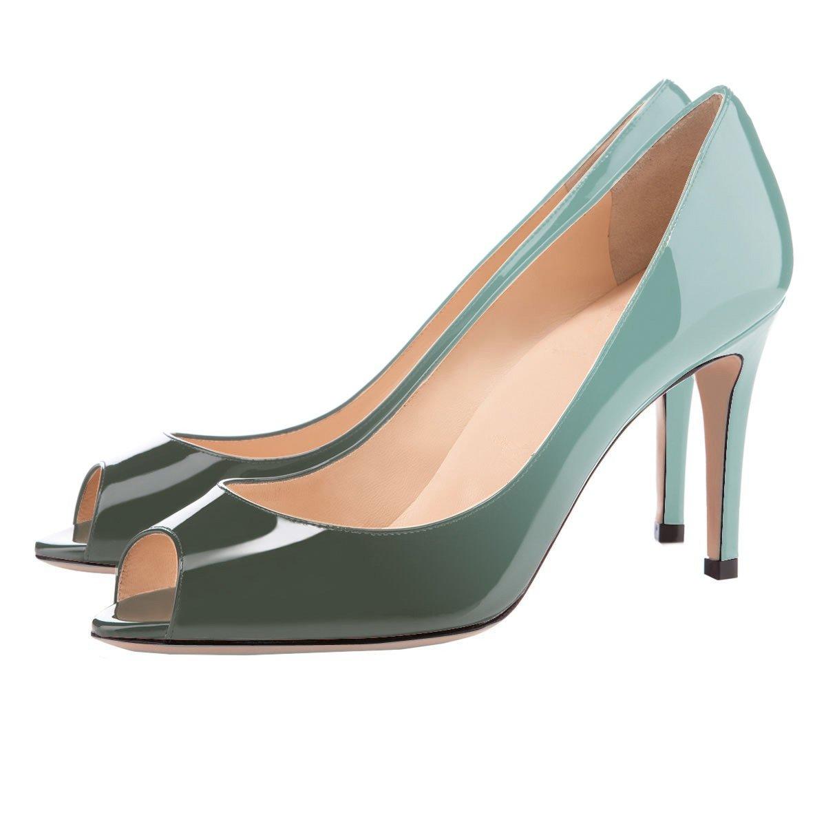 Eldof Women Peep Toe Pumps Mid-Heel Pumps Formal Wedding Bridal Classic Heel Open Toe Stiletto B07F8N6ZZ9 5 B(M) US|Emerald