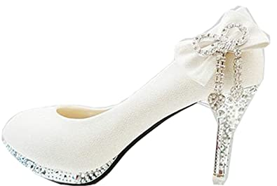 11d8329a984 Image Unavailable. Image not available for. Color  Wedding Shoes Woman High  Heels Crystal Diamond Women Shoes Platform Bridal ...