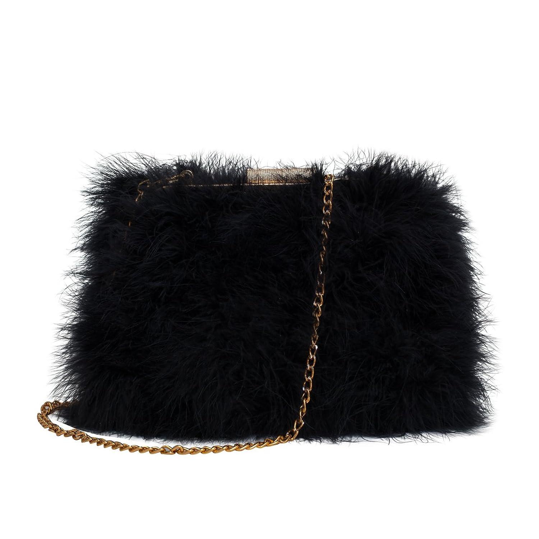 Zarapack Women's Genuine Fluffy Feather Fur Round Clutch Shoulder ...