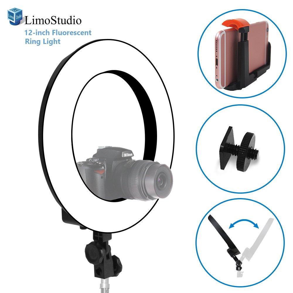 LimoStudio 12インチ蛍光ラウンドリングライト、調光機能付き連続照明キット、45 W 5500 K、Suitable for Beauty Facial Shoot、ホットシューマウント、セル電話スプリングクリップホルダー、フォトスタジオ、agg2027 V2   B01LYU7YGT