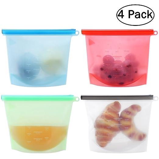 BESTONZON 4 Pcs Bolsa de Alimentos Bolsa de Silicona Reutilizable Hermético para Frutas Vegetales Carne Leche, Microondas, Lavavajillas, Congelación