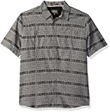 Quiksilver Waterman Men's Wake Koro Miri Button Down Shirt with Back Vent, Grey Koro Miri, M