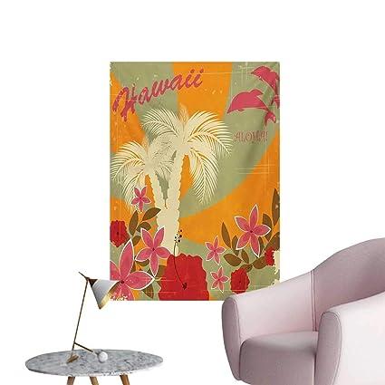 Amazon.com: Anzhutwelve Hawaiian Home Decor Wall Aloha Vintage Print  Colorful Swirl Backdrop Dolphins Palm Trees FlowersMarigold Reseda Green  W24 XL36 Cool ...