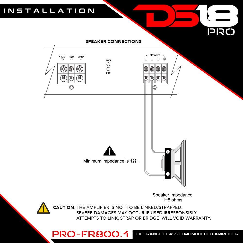 DS18 PRO-FR800.1 800 Watts RMS Full Range Class D Monoblock Amplifier