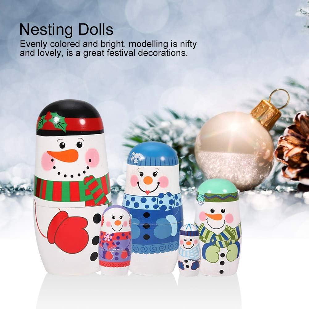 Wosume Christmas Hand-painted Cute Wooden Matryoshka Dolls Russian Nesting Dolls Set Home Decoration 5pcs B