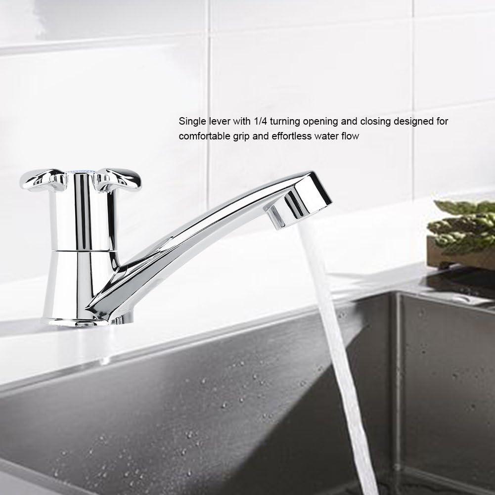 tapa de agua fr/ía Grifo de lavabo con mango /único cocina o cuarto de ba/ño Blossom handle boquilla de agua fr/ía galvanizado G1//2 para cuarto de ba/ño