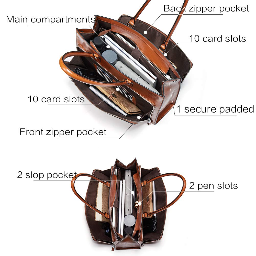 BOSTANTEN Women Leather Briefcase Vintage Shoulder 15.6'' Laptop Tote Handbags Brown by BOSTANTEN (Image #4)