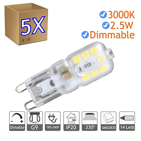5x Bombilla LED G9 regulable 2.5W blanco 3000ºK calido Blister - Jandei