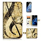 ( For Samsung S7 , Galaxy S7 ) Flip Wallet Case Cover & Screen Protector Bundle - A20412 Music Note