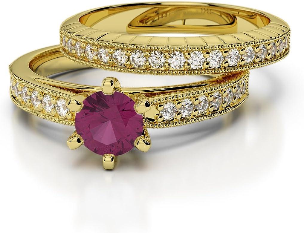 Oro rosa/oro blanco/oro amarillo/Platinum Ruby & Diamond Juego de ...