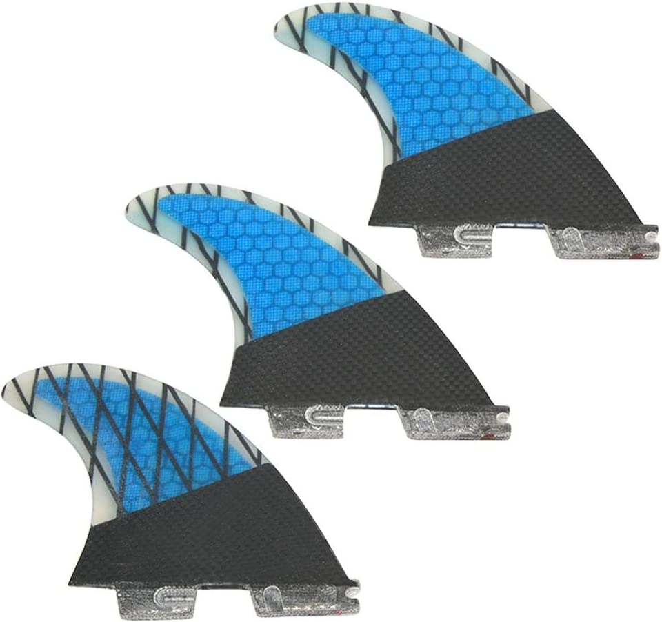 Tbest FCS2 Thruster Finnen Set Large, Honeycomb Carbon, blau