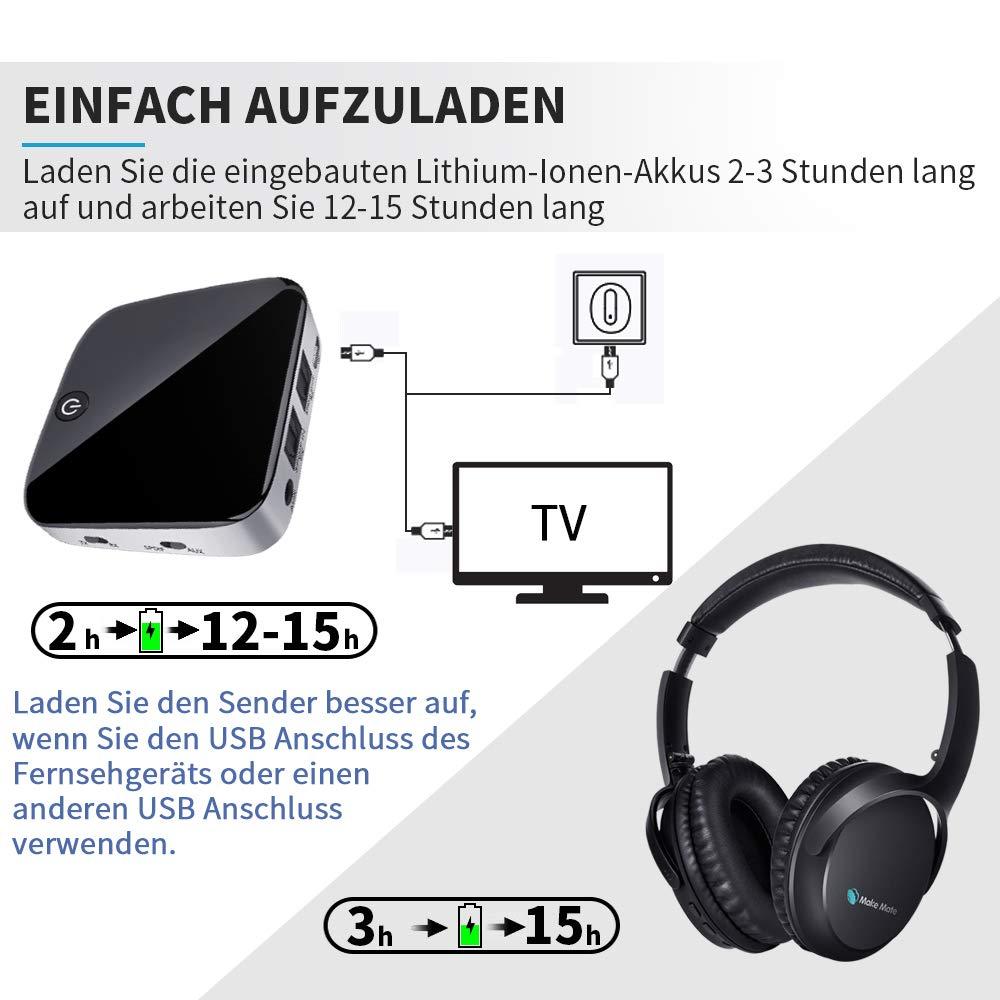 V4,1 MAKEMATE BKM100 Funkkopfh/örer f/ür Fernseher Set OPTISCH Stereo Digital Kopfh/örer f/ür TV PC Handy Tablet Volume Speicher Protein Ohrensch/ützer Bluetooth TV Headset mit Bluetooth Adapter