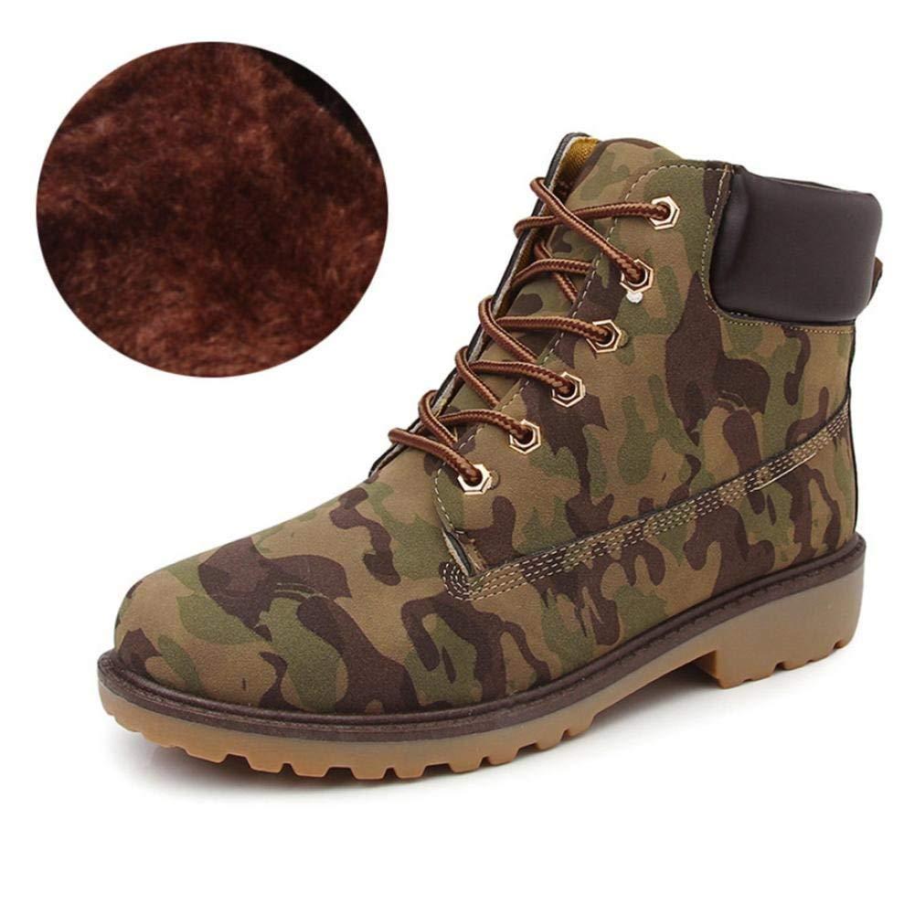 Herbst und Winter Herren Martin Stiefel British Plus SAMT hohe Hilfe Anti-Rutsch-Männer Stiefel (Farbe : Tarnung, Größe : 43)