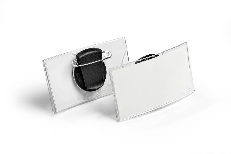 Packung /à 25 St/ück transparent 40 x 75 mm Durable 812319 Namensschild konvex mit Magnet