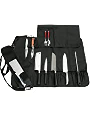 HANSHI Heavy Duty Utility 17 Slots Chef Knife Roll Bag Portable Knife Bag Case Storage Tote With Shoulder Strap (Black)