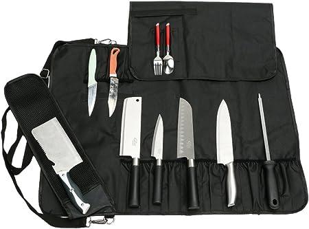 HANSHI Utilidad de Servicio Pesado 17 Ranuras Cuchillo de Chef Bolsa de Rollo Bolsa de Cuchillo portátil Estuche de Almacenamiento con Correa para el Hombro