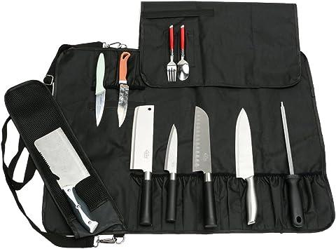 HANSHI Utilidad de Servicio Pesado 17 Ranuras, Cuchillo de Chef Bolsa de Rollo, Bolsa de Cuchillo portátil, Estuche de Almacenamiento con Correa para el Hombro: Amazon.es: Hogar