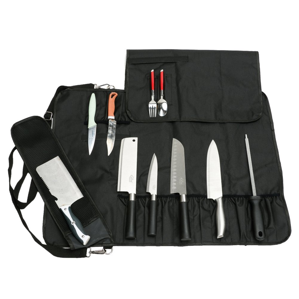 Chef Knife Roll Bag Multi-Purpose Chef Knife Case with Zippered Mesh Pocket Handle and Shoulder Strap, Holds 12 Knives, 1 Meat Cleaver, And 3 Utensil Pockets CYGJB34 by CHENG YI
