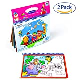 Aqua Doodle, Reusable Water-Reveal Activity Pads 2-pk 16 Pages Water Coloring Aqua Drawing Painting Toy Kits with Bonus Pens (Zoo&Dinosaur)