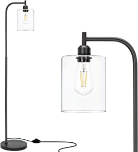 Congratsu Industrial Floor Lamp with Hanging Glass Shade Farmhouse Indoor Pole Light with Edison E26 Base Vintage Rustic Standing Tall Lighting for Living Room Bedroom Office - Black