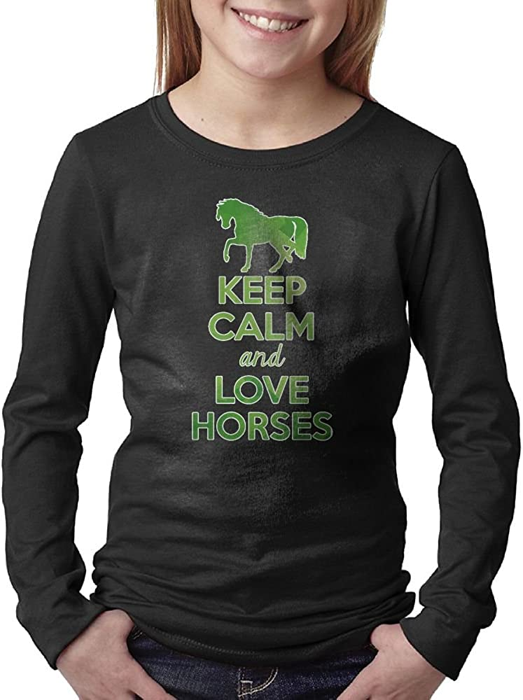 Keep Calm And Love Horses Green Unisex Teen's Long Sleeve Crew Neck Shirt