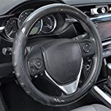 ACDelco Steering Wheel Cover Carbon Fiber Accent with UltraSoft Cushion-Grip Ergonomic Sides - Blue Stitching