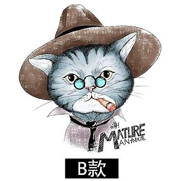 Animal de dibujos animados gato negro lindo etiqueta de la pared ...