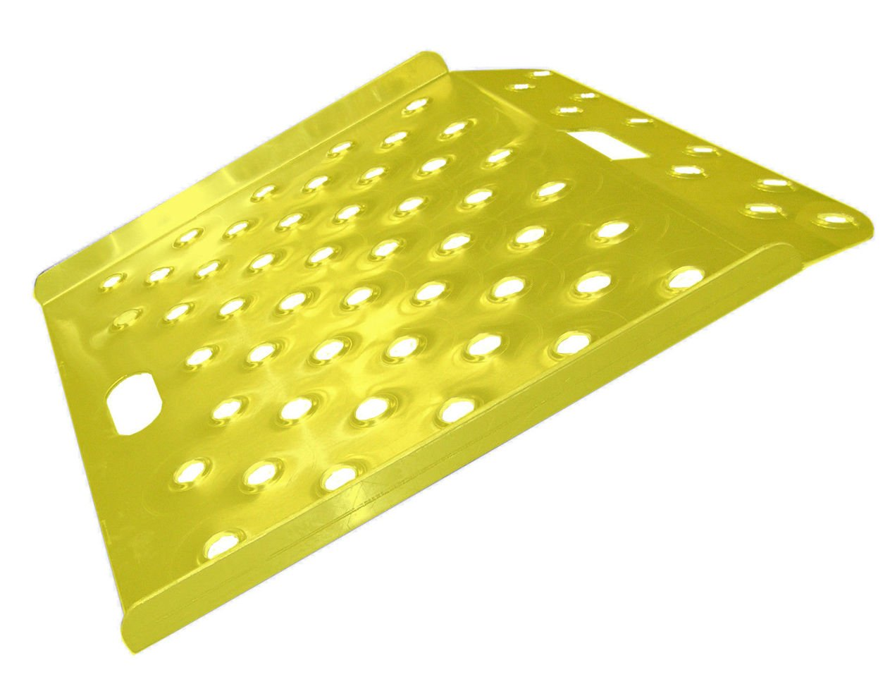 New Safety Yellow Wedge Style Perforated Aluminum Curb Ramp - 26'' x 18'' 600# Cap
