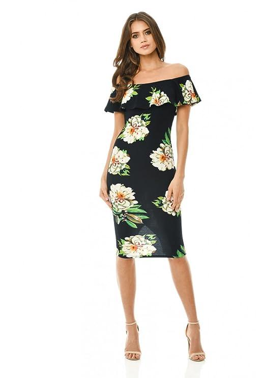 f7d788269fce4 AX Paris Women s Off Shoulder Frill Bodycon Dress at Amazon Women s Clothing  store