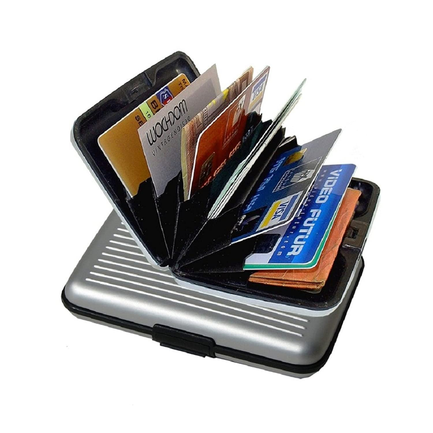 iLett. Aluminum Wallet, SMALL, Silver, Resistant, Card Protect, RFID Block, Card Holder, 6 pockets. Ultra Slim, Portable, For travel
