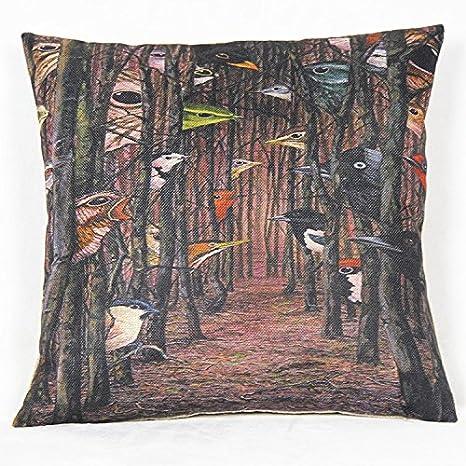 Weksi Animal Style Retro Cotton Linen Square Fabric Throw Pillow Covers 18x18