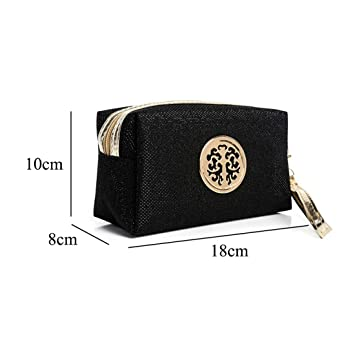 c2da64513ad7 Amazon.com : SODIAL Black fashion lady cosmetic bag solid color ...