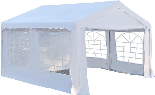 Outsunny Carpa de Jardín Cochera Gazebo 4x4m Pergola Cenador Pabellón 4 Paneles Laterales 4 Ventanas para Fiesta Eventos Bodas Acero PE Blanco