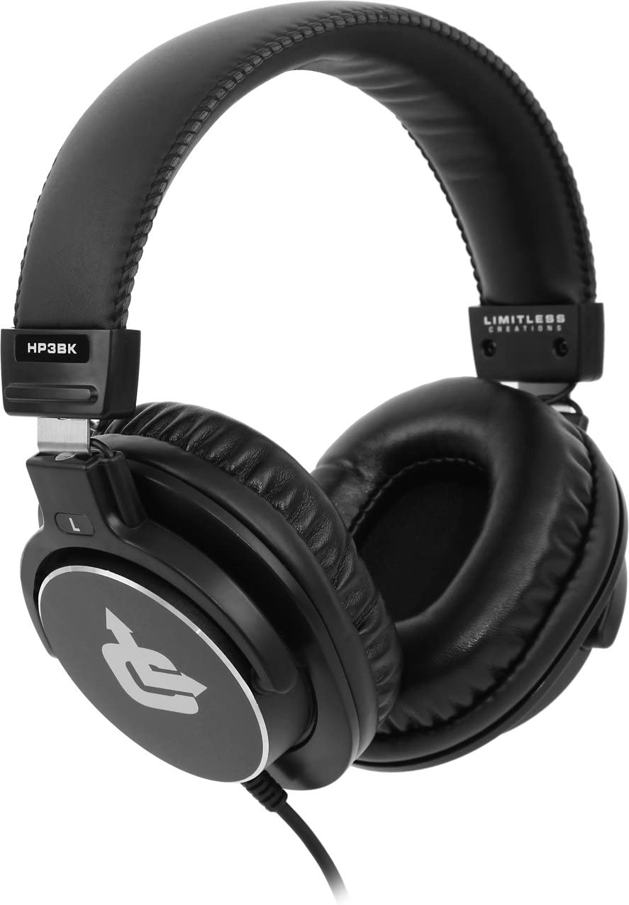 Limitless Creations Over-Ear 45mm Dynamic Driver Professional Studio Monitor Headphones HP3BK