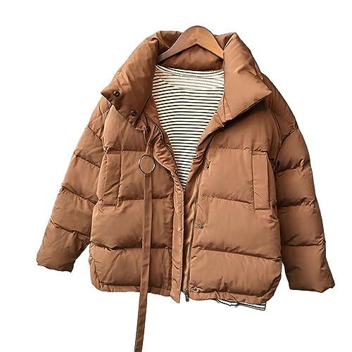 Mujer Moda Collar del soporte Suelto Acolchado de algodón Ropa Talla grande Abrigo de invierno
