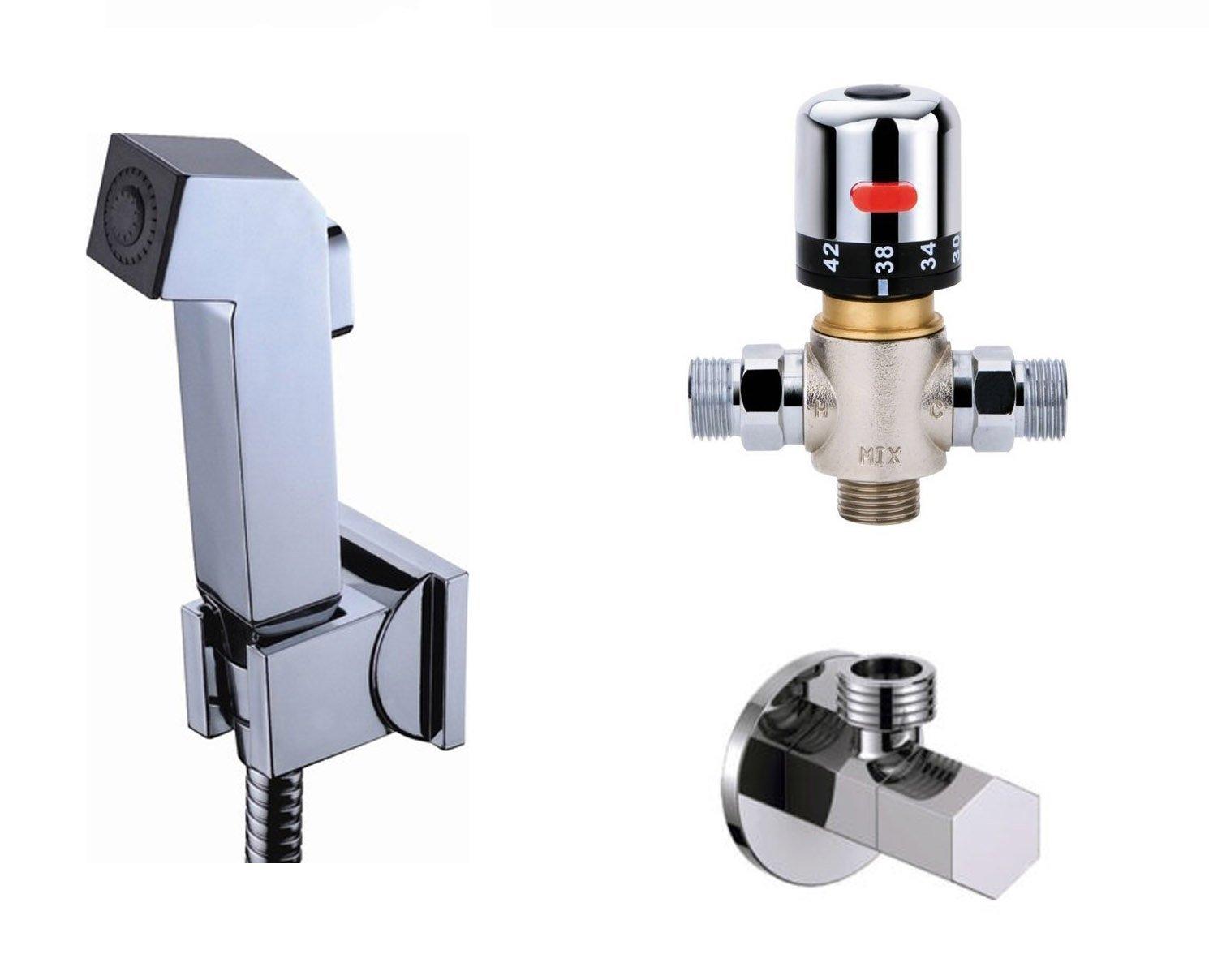 Ownace Bath G1/2 Thermostatic Mixer Valve Toilet Square Handheld Bidet Sprayer Shower Head Douche kit Set