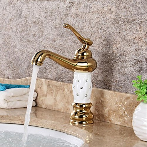 (Basin Tap Gold-plated Faucet European Basin Tap Hot Cold Mixer Tap Single Lever Single Hole White Gold Faucet)