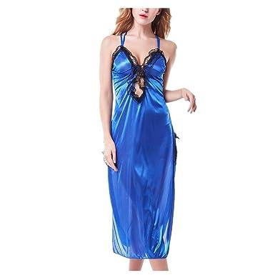 LUCKYCAT Damen Satin Kleid Nachtkleid Spitze Nachthemd Rückenfrei ...