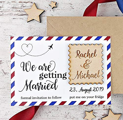 Postcard Save The Date Wood Magnet, Wedding Save The Date Magnet, Destination Wedding Save The Date Set of 20 -