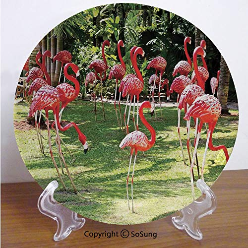 "SoSung Flamingo 8"" Ceramic Decorative Plate,Flamingo Bird Model in The Garden in Vibrant Colors Under Sunlight Shadows Pink and Green,for Living Room, Bedroom, Hallway Console Side Table Decor"
