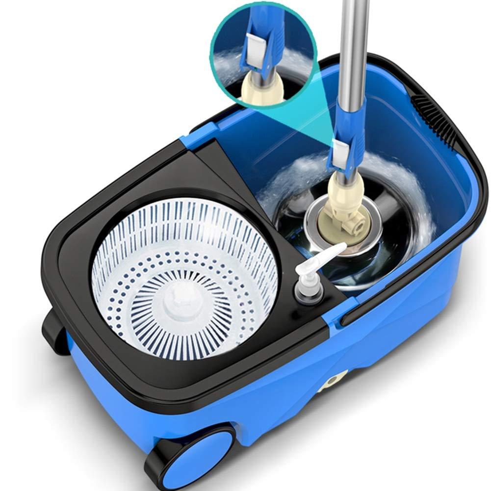 モップ 回転する 家庭 ダブルドライブ 手の圧力 自動脱水 モップのバケツ、 6モップヘッド プラスチックバスケット (色 : 青) B07J56BVJR 青
