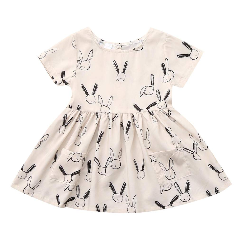 GBSELL Baby Girls Summer Clothes Adorable Rabbit Short Sleeve Short Sleeve Dresses