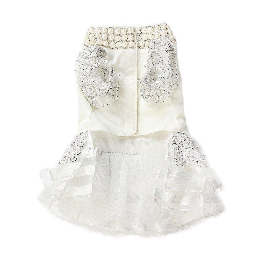 8ab5f40ff Ropa de Perro Vestido de Novia de Encaje Blanco Perla de Poliéster Para  Mascotas (M)  Amazon.es  Productos para mascotas