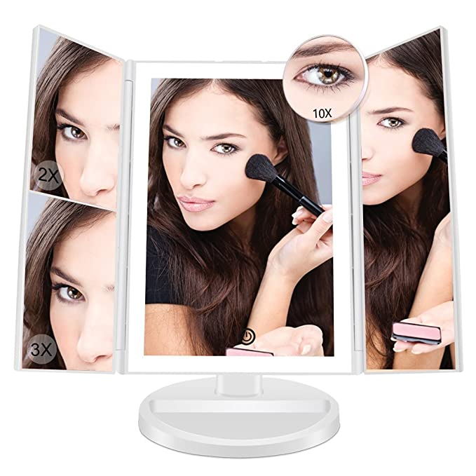 Makeup Vanity Mirror with 36 LED Lights, FASCINATE Led Makeup Mirror with 10X/3X/2X/1X Magnification, 180° Adjustable Rotation, AAA and USB Powered, Portable High-Definition Cosmetic Mirror (White)