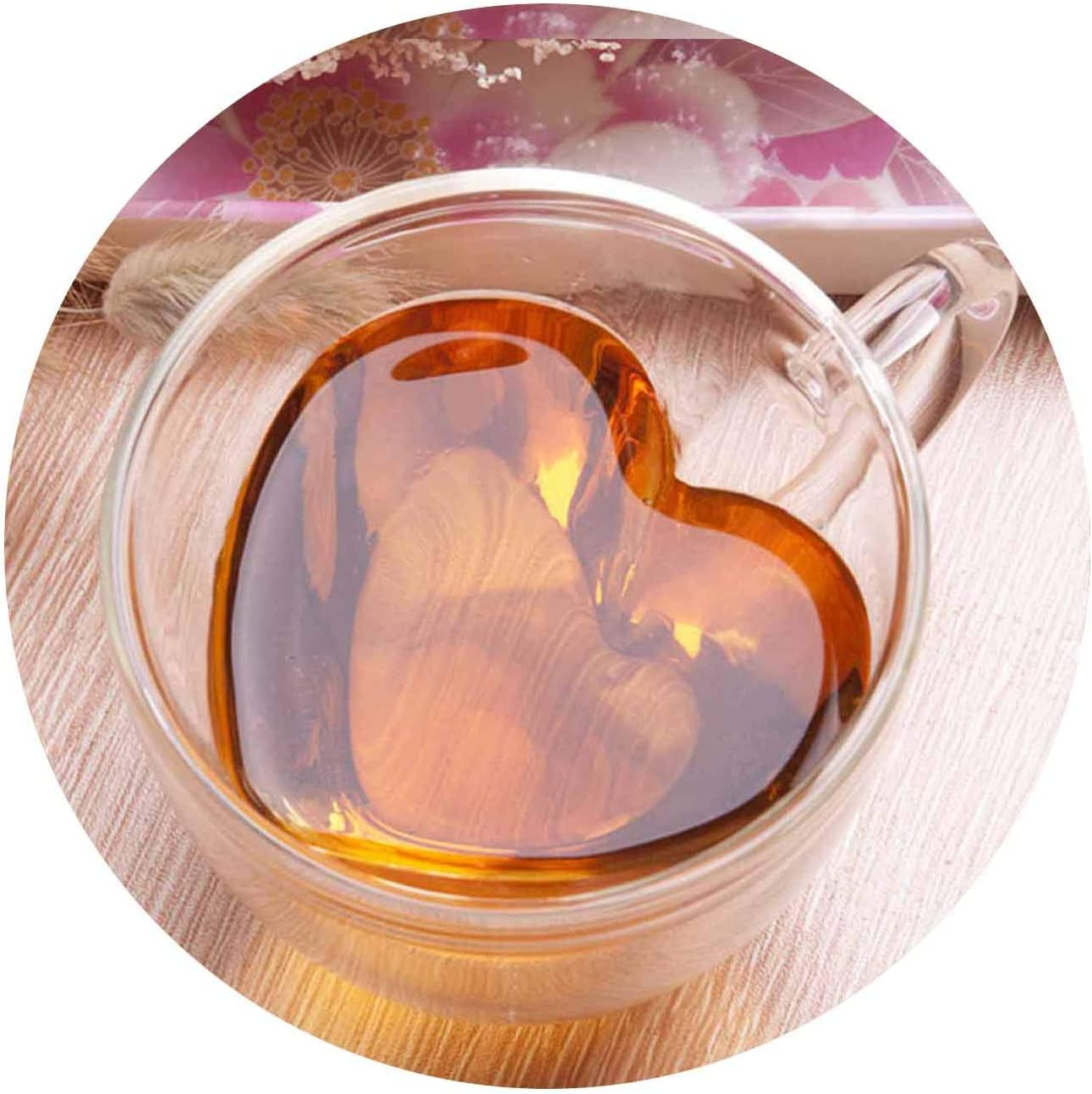 XHHOME Heart Shaped Double Walled Insulated Glass Coffee Mugs or Tea Cups Double Wall Glass Clear Unique & Insulated with Handle (Large)