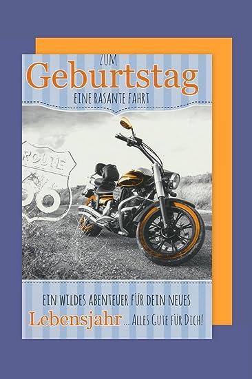 Manner Geburtstag Biker Karte Grusskarte Route 66 Motorrad 16x11cm