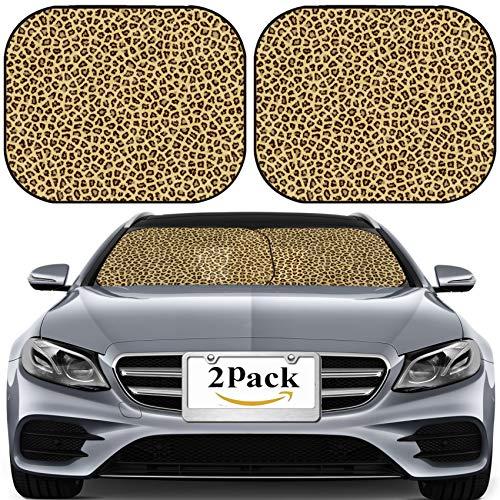MSD Car Sun Shade for Windshield Universal Fit 2 Pack Sunshade, Block Sun Glare, UV and Heat, Protect Car Interior, Skin Photo 7717559 (Leopard Sun Shade For Car)