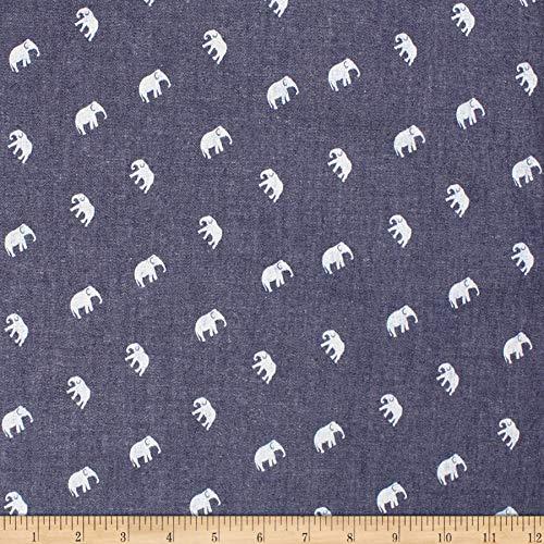 Telio Denim Cotton Print Elephant Fabric, Dark Blue, Fabric By The Yard