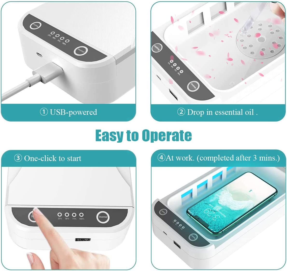 Multi-Function with Aromatherapy and USB Charger Compatible with iOS Android Phones up to 6.6 Inches. Portable Smart Phone Cleaner Box Kongwal Cell Phone Cleaner