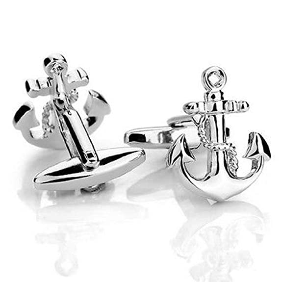 Sail Boat Anchor Nautical Cruise Ship Swim Sea Captain Cufflinks